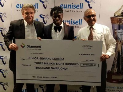 Lokosa delighted to receive N3.8m Eunisell Boot award as NPFL top scorer