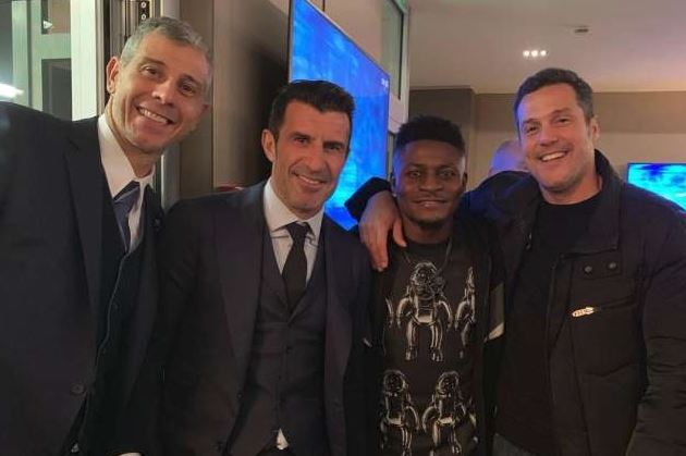 Forza Inter! Obafemi Martins joins Zanetti, Figo & Ceasar for Champions League night at San Siro