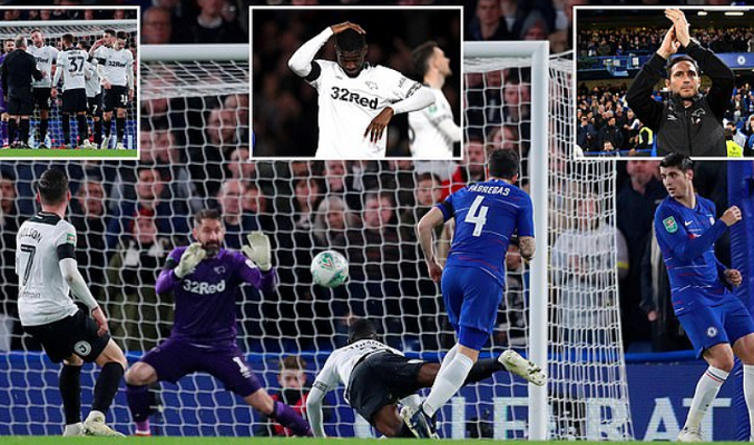 Chelsea beat Lampard's Derby in League Cup Halloween thriller, to face Bournemouth next
