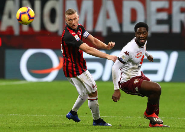 Ola Aina celebrates Torino draw against AC Milan