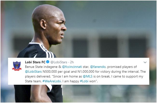 FC Cincinnati star pledges ₦1.1m to Lobi Stars for CAFCL win