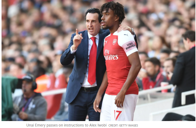 Unai Emery happy with Alex Iwobi's development at Arsenal