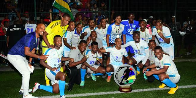 Nigeria's Gabriel Samuel celebrates FA Cup win in Mauritius