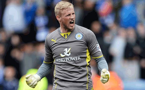 Is Schmeichel auditioning to be a striker?