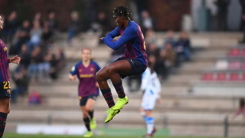 Oshoala scores goal number four for Barcelona