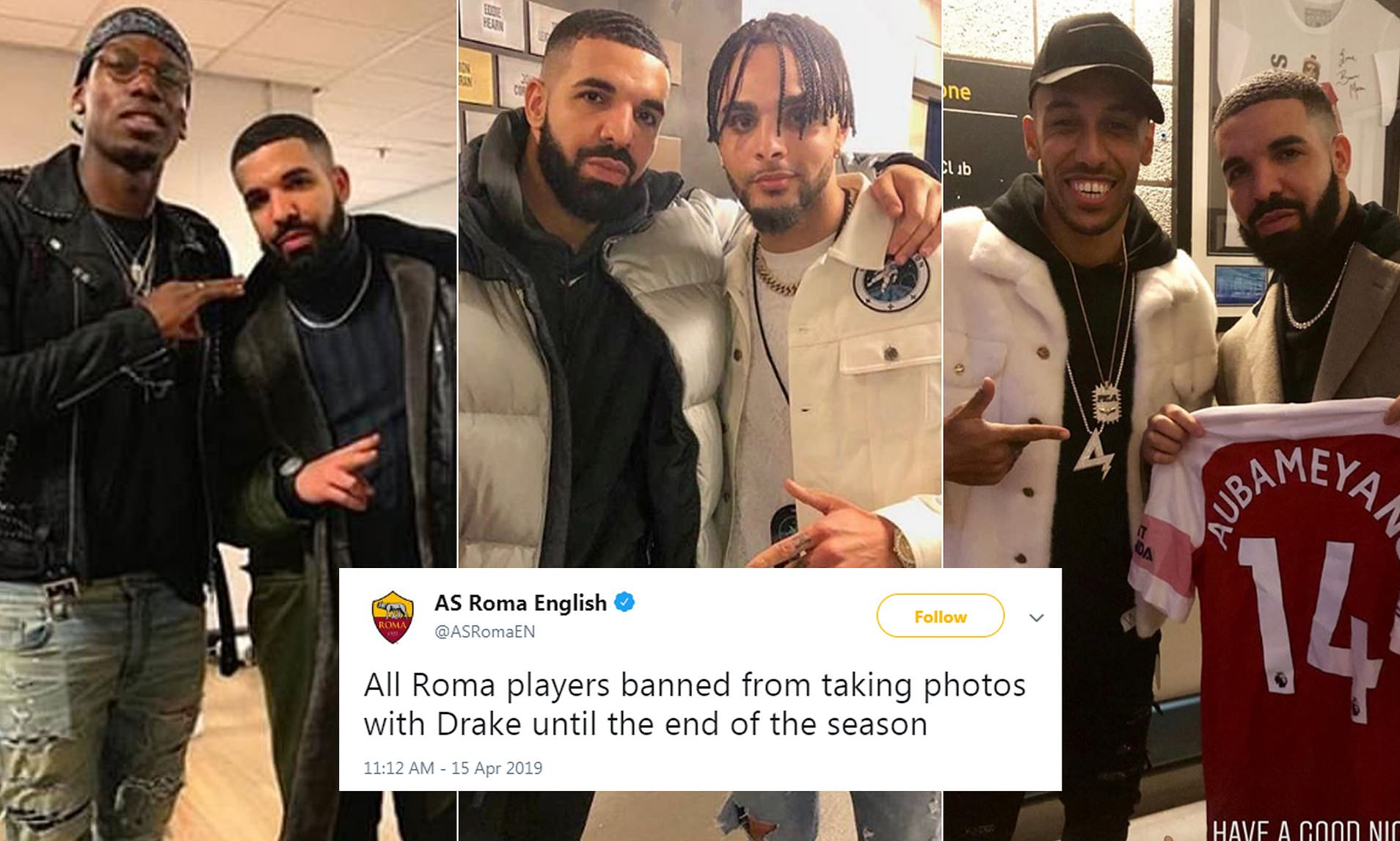 AS Roma hilariously ban all players from getting picture with Drake