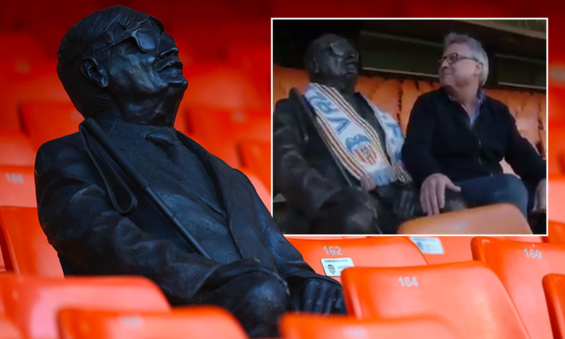 Valencia pays tribute to blind supporter two years after his death with a statue