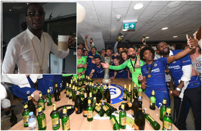 Chelsea Players Celebrate Europa League win with D'Banj