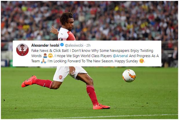 FAKE NEWS! Iwobi calls out Media over false reports on his Arsenal future and transfer target Zaha