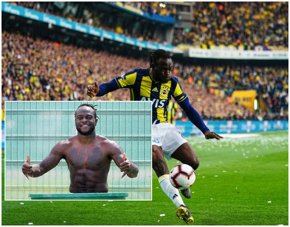 Chelsea loanee Victor Moses shows off ripped abs