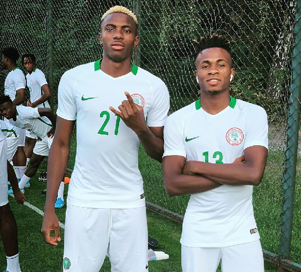 Eaglets to Eagles! Osimhen strikes a pose with Chukwueze