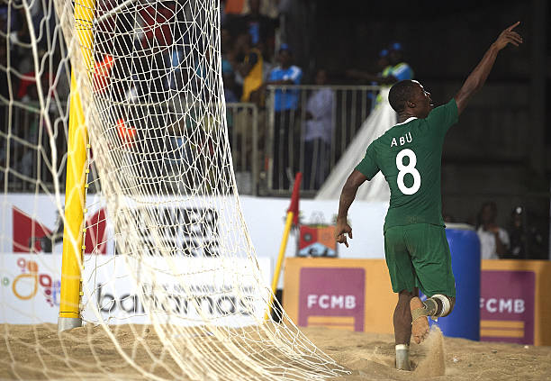 Sand Eagles forward Abu Azeez reacts to Beach Soccer Stars Award nomination
