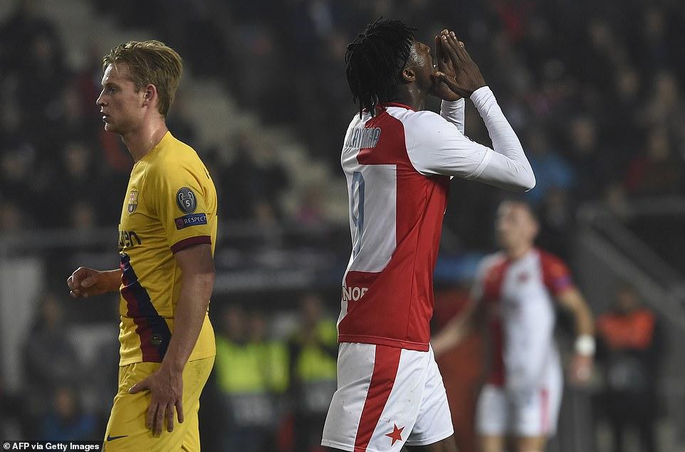 Olayinka's Own Goal Proved Costly For Slavia Prague Against Barcelona