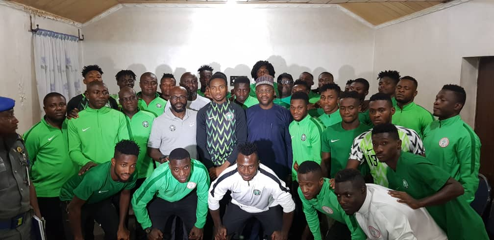 Sports Minister visits Under-23 team camp, urge them to do Nigeria proud at the Under-23 AFCON in Egypt