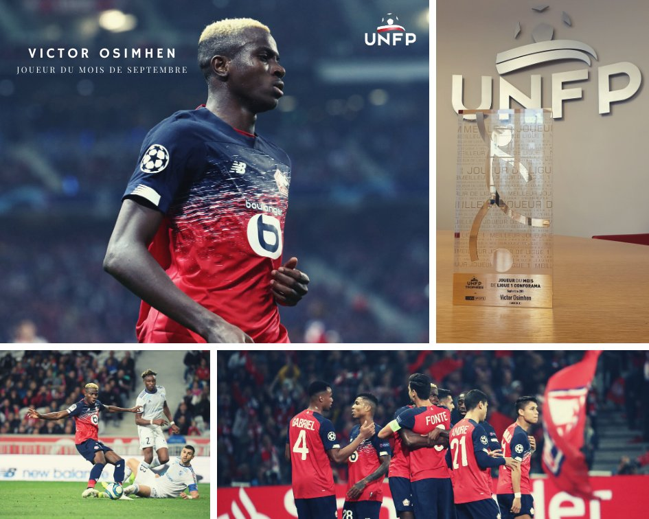 Osimhen Receives His French Ligue 1 Player Of The Month Award