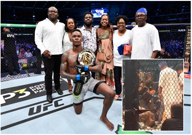 """Style Bender"" Adesanya presents UFC World Championship belt to Parents"