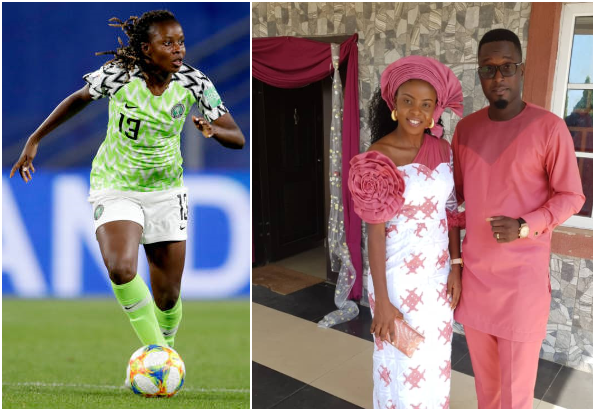 Super Falcons star celebrates second year wedding anniversary with hubby