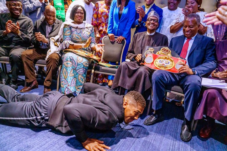 Anthony Joshua Presents Championship Belts to President Buhari in London