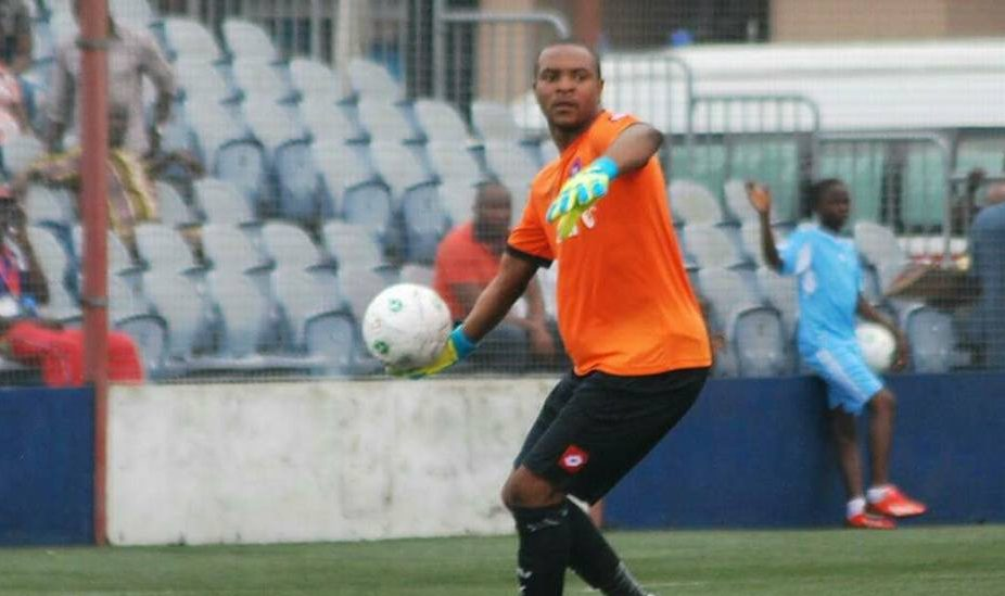 Abia Warriors goalkeeper Charles Tambe gives thanks to God after leaving hospital