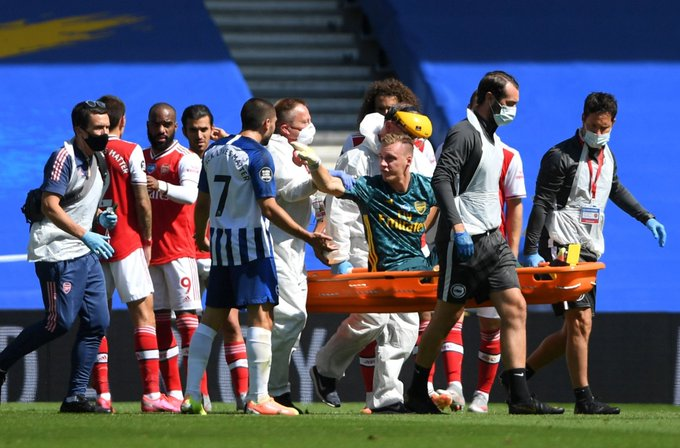 Brighton's Maupay apologises for role in Bernd Leno injury