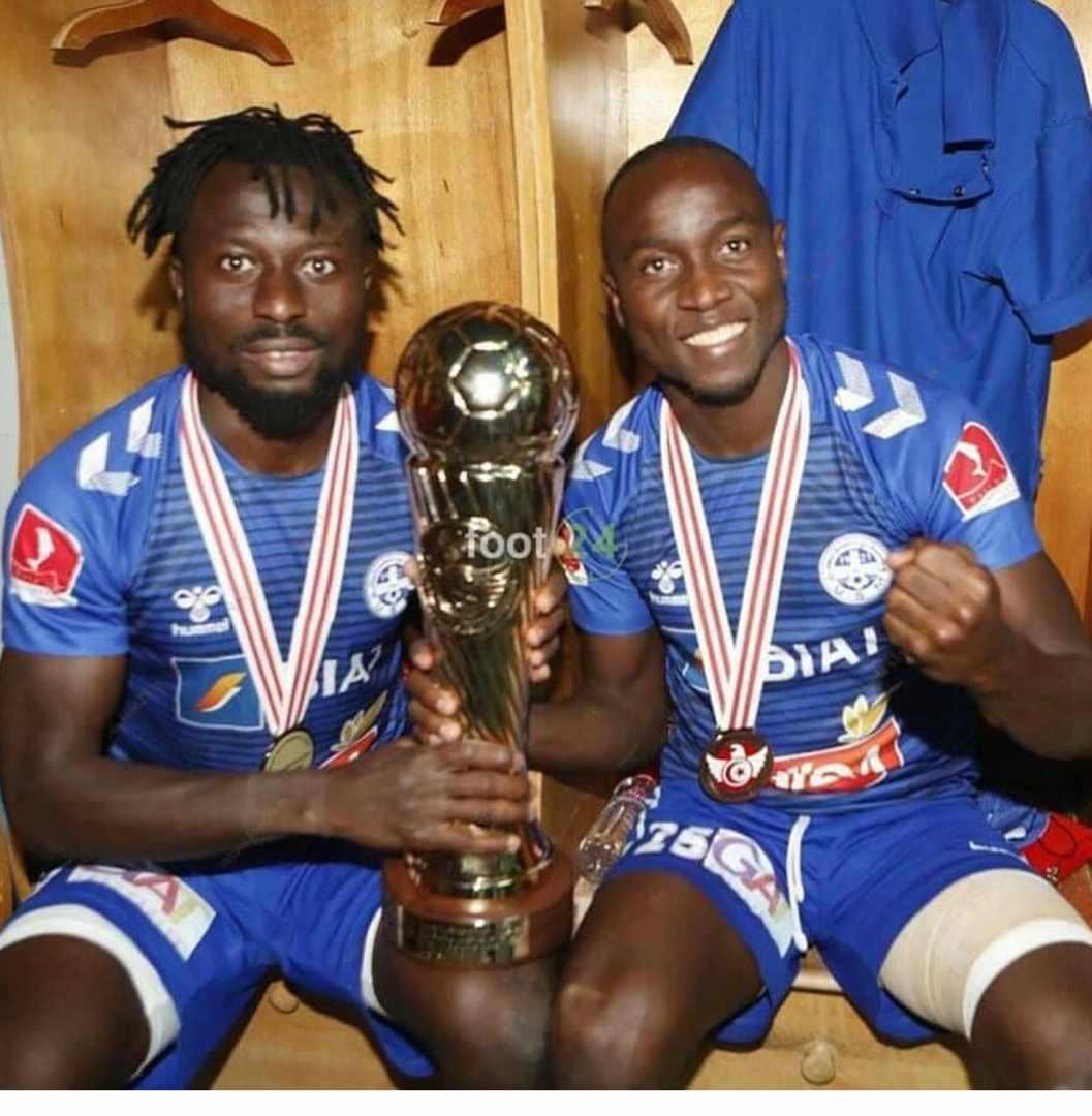 Anthony Okpotu and Moses Orkuma celebrates Tunisian Cup title