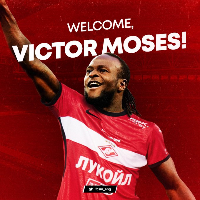 Spartak Moscow confirms Victor Moses arrival