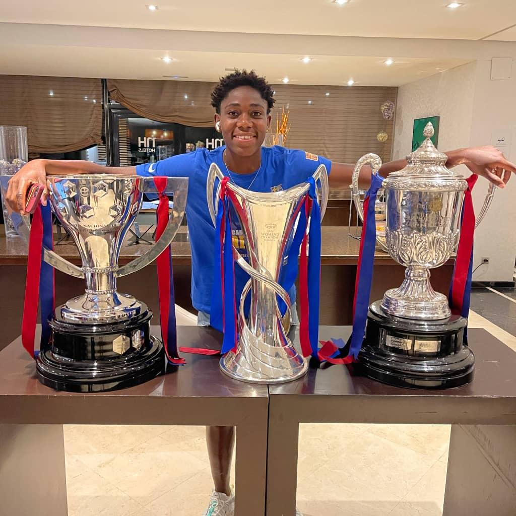 Oshoala wins historic treble with Barcelona